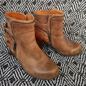 Born taupe distressed leather biker boots
